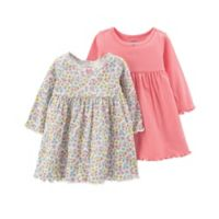 carter's® Newborn 3-Piece Long Sleeve Dress and Diaper Cover Set in Coral