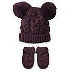 Toby® Newborn Cable Hat and Mitten Set in Burgundy