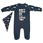 "Mini Heroes™ Size 3M ""Don't Wake Me I'll Wake You"" Footie in Blue"