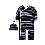 Burt's Bees Baby® Preemie 2-Piece Melody Stripe Kimono Coverall and Hat Set in Navy