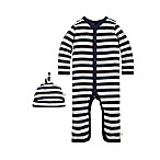 Burt's Bees Baby® Newborn 2-Piece Stripe Coverall and Hat Set