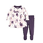 Burt's Bees Baby® Exploded Petals Size 0-3M 2-Piece Dress and Pant Set in Purple