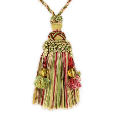 Charm Key Tassel Tieback With Bead In Pink Green