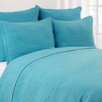 Basketweave Full/Queen Quilt Set in Blue