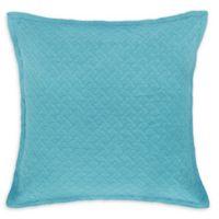Basketweave European Pillow Sham in Blue