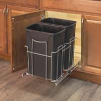 Grayline 3-Piece Dual Trash Can and Slide-Out Rack Set in Black