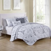 VCNY Home Paris Night Reversible Queen Quilt Set in Taupe