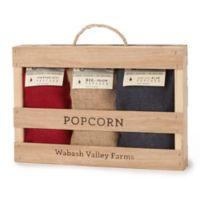 Wabash Valley Farms™ 3-Pack Mini Burlap Popcorn Bags in Handmade Wooden Crate