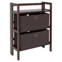 Winsome Torino 3-Piece 2-Tier Folding Shelf with Baskets Set in Walnut/Brown