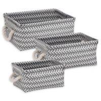 Honey-Can-Do® 3-Piece Zig Zag Woven Basket Set in Dark Grey
