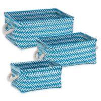 Honey-Can-Do® 3-Piece Zig Zag Woven Basket Set in Blue