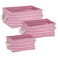 Honey-Can-Do® 3-Piece Zig Zag Woven Basket Set in Hot Pink
