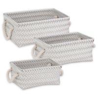 Honey-Can-Do® 3-Piece Zig Zag Woven Basket Set in Grey