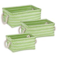 Honey-Can-Do® 3-Piece Zig Zag Woven Basket Set in Green