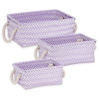 Honey-Can-Do® 3-Piece Zig Zag Woven Basket Set in Lilac