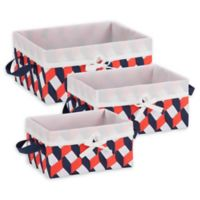 Honey-Can-Do® 3-Piece Woven Lined Tote Set in Navy/Orange/White