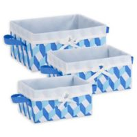 Honey-Can-Do® 3-Piece Woven Lined Tote Set in Blue/White/Light Blue