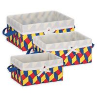 Honey-Can-Do® 3-Piece Woven Lined Tote Set in Red/Yellow/Blue