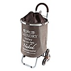Stair Climber Trolley Dolly Laundry Cart in Brown
