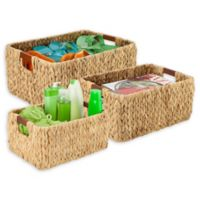 Honey-Can-Do® 3-Piece Woven Hyacinth Rectangular Basket Set with Wood Handles in Natural
