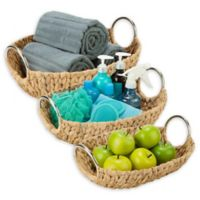 Honey-Can-Do® 3-Piece Woven Hyacinth Oval Basket Set with Metal Handles in Natural