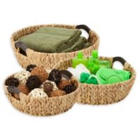 Honey-Can-Do® 3-Piece Woven Hyacinth Round Basket Set with Wood Handles in Natural