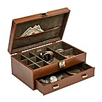 Mele & Co. Finley Jewelry Valet in Cognac Faux Leather
