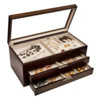 Mele & Co. Nova Glass Top Wooden Jewelry Box in Mocha