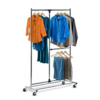Honey-Can-Do® 80-Inch Dual Bar Adjustable Rolling Garment Rack in Chrome