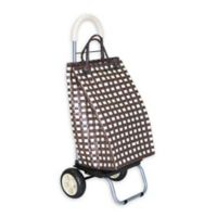 Trolley Dolly Basket Weave Laundry Cart in Brown
