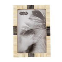 Mud Pie® 6-Inch x 4-Inch White Blue Bone Chip Frame