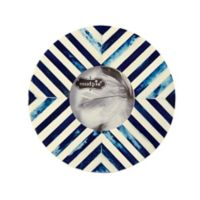 Mud Pie® Blue Geometric Bone 3-Inch Round Picture Frame
