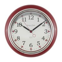 Sterling & Noble Kitchen Round Wall Clock in Red