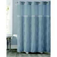 Hookless® Palm Leaves Shower Curtain in Dusty Blue