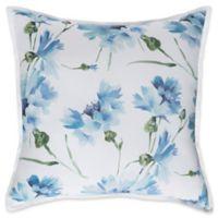 Surya Gardenia European Pillow Sham in White/Pale Blue