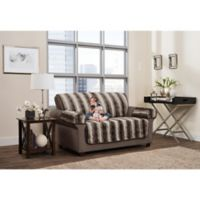 Smart Fit 3-Piece Faux Fur Loveseat Cover in Brown Ombre