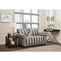 Smart Fit 3-Piece Faux Fur Loveseat Cover in Grey Ombre