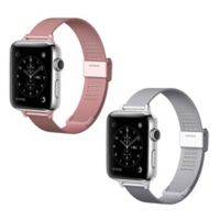 Element Works Apple Watch® 42mm Steel Bands in Rose Gold/Silver (Set of 2)
