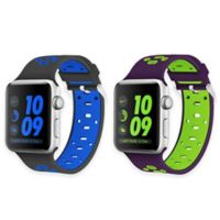 Element Works Apple Watch® 38mm Bands in Black and Blue/Purple and Green (Set of 2)