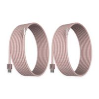 Element Works 6' Braided Cable Chargers in Rose Gold/White (Set of 2)