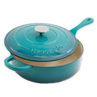 Crock-Pot® Artisan 3.5 qt. Cast Iron Covered Deep Saute Pan in Teal