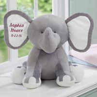 Embroidered Jumbo Plush Elephant in Grey