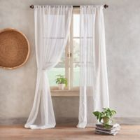 Desmond 84-Inch Pole Top Sheer Window Curtain Panel in Linen