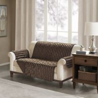 Madison Park Duke Faux Fur Loveseat Protector in Chocolate