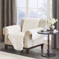 Madison Park Arctic Long Faux Fur Chair Protector in Ivory
