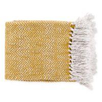Surya Trina Throw Blanket in Saffron/White