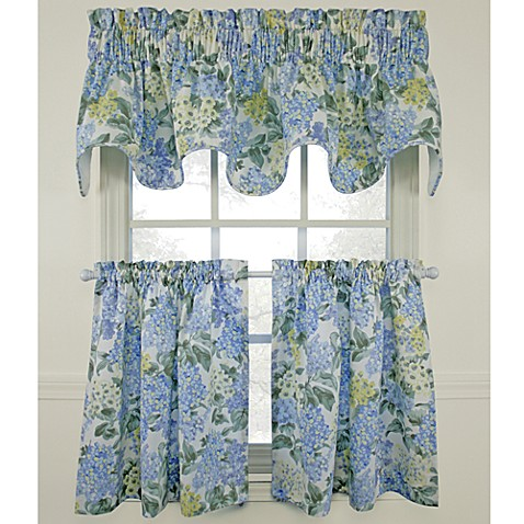 Hydrangea Blue Window Curtain Tiers 100 Cotton Bed