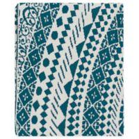 Surya Ekena Throw Blanket in Teal/Cream