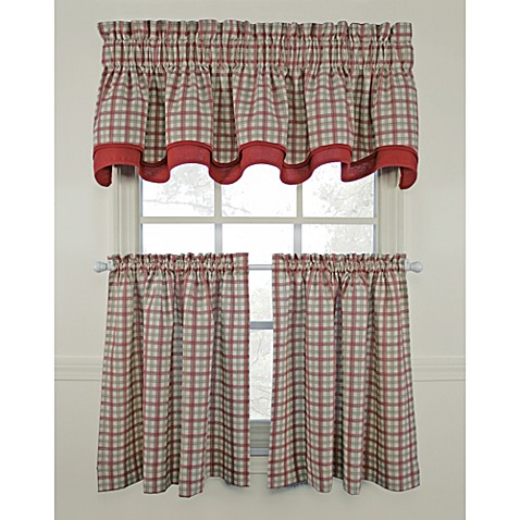 bristol plaid window curtain tiers red 100 cotton bed bath