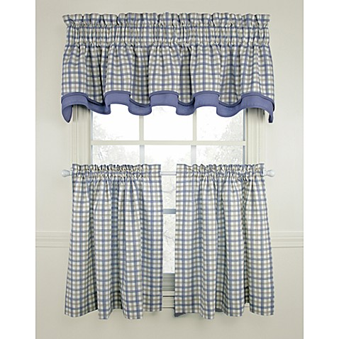 Bristol Plaid Window Curtain Tiers Blue 100 Cotton